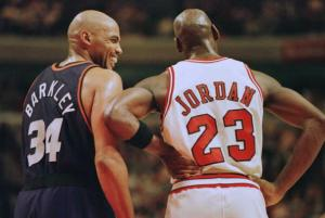 Phoenix Suns forward Charles Barkley (34) laughs a